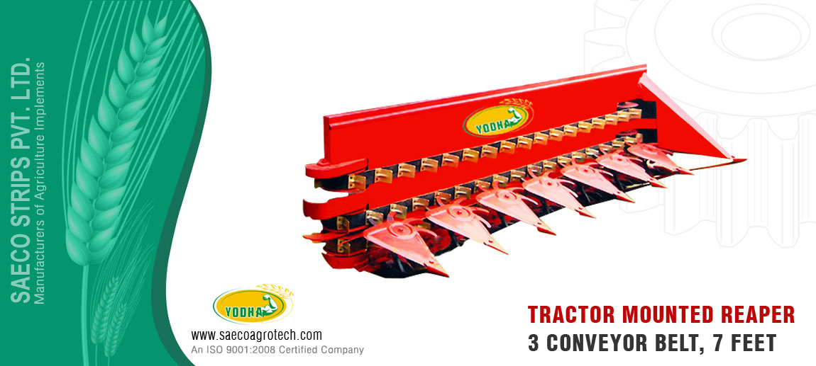 Tractor Mounted Reaper 3 Conveyer Belt 7 feet manufacturers exporters india punjab ludhiana